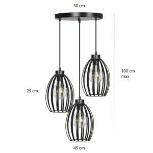 BORIS 3 BLACK PREMIUM 165/3PREM lampa wisząca regulowana czarna loft