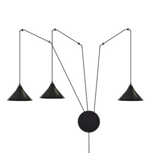 ABRAMO 3 BLACK 160/3 lampa sufitowa wisząca regulowana najnowszy design czarna loft